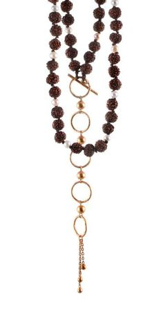 Rudraksha beads & pearls with 24k gold plated brass