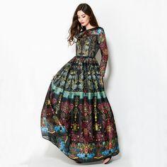 Ball Gown Dress XXL Fashion Runway High Quality European New Vintage Print Slim Big Hem Elegant Ankle-length Long Dress