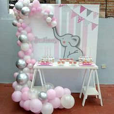 Baby shower ideas for boys elephant theme birthday parties 46 super ideas - Babyparty-ideen - Dumbo Baby Shower, Baby Girl Shower Themes, Girl Baby Shower Decorations, Elephant Baby Showers, Baby Shower Fun, Elephant Party, Babyshower Themes For Girls, Elephant Birthday, Babyshower Elephant Theme