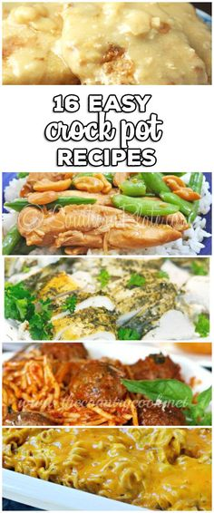 Easy Crock Pot Recipes: From Dinner to Dessert we have you covered with 16 grea. Crock Pot Food, Crockpot Dishes, Crock Pot Slow Cooker, Slow Cooker Recipes, Crockpot Recipes, Cooking Recipes, Slow Cooking, Easy Recipes, Dump Recipes