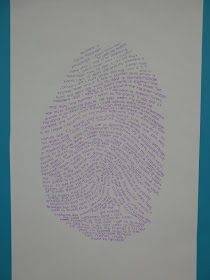 "The Calvert Canvas: Adventures in Middle School Art!: Typographic Thumb Print ""Self Portraits"""