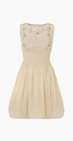 Little Mistress Embellished sheer top dress, Cream