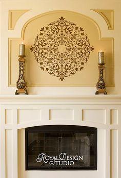 Arabesque Ceiling Medallion Stencil on Fireplace Wall Niche | Royal Design Studio