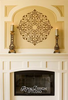 Arabesque Ceiling Medallion Stencil on Fireplace Wall Niche | Royal Design Studio
