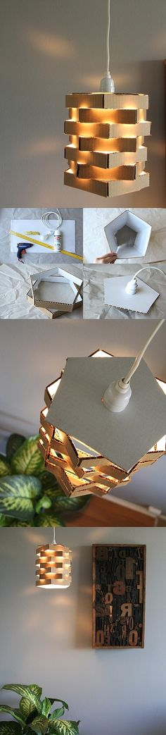 diy, diy home, diy home decorating on a budget, diy lamp. I'd at least paint the cardboard. Cardboard Crafts, Paper Crafts, Cardboard Chair, Diy Luz, Diys, Diy Lampe, Creation Deco, Ideias Diy, Diy Décoration