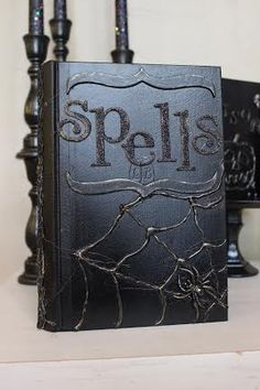 diy spells and potion book..using hot glue, paint and chipboard