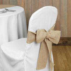 The hottest trend right now is natural burlap and with these adorable chair sashes are the perfect touch for your shabby chic, rustic or outdoor wedding. Make a loop or just tie in a knot on just abou