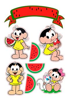 Watermelon Cartoon, Watermelon Fruit, Classic Cartoon Characters, Classic Cartoons, Fruit Birthday, Diy Crafts To Do, Fruit Party, Cake Toppers, Party Themes