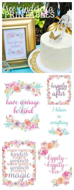 Free Cinderella Printables - 5 corresponding designs with quotes from the New Cinderella Movie that are perfect for both home decor and party decor!   The Love Nerds #disneyside #disneysmmc