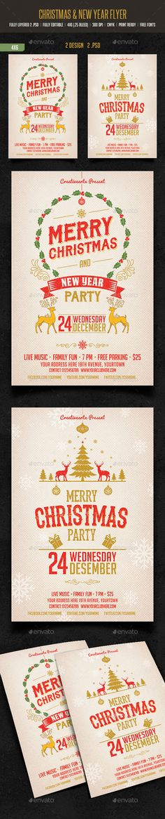 Merry Christmas & New Year Party - Events Flyers Christmas Poster, Christmas And New Year, Vintage Christmas, Merry Christmas, Christmas Flyer Template, Party Events, Event Flyers, Party Flyer, New Years Party