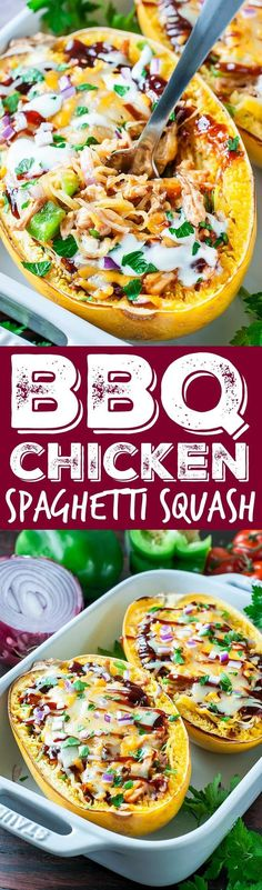 BBQ Chicken Spaghetti Squash Grab that lone spaghetti squash sitting on your counter and break out the barbecue sauce! These BBQ Chicken Spaghetti Squash make low-carb eating fun and delicious! Paleo Recipes, Low Carb Recipes, New Recipes, Cooking Recipes, Favorite Recipes, Sausage Recipes, Coffe Recipes, Crohns Recipes, Smoker Recipes