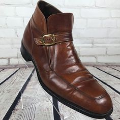 Florsheim Imperial Men's Brown Leather Ankle Boot Size 9.5 Slip on Buckle Strap #Florsheim #AnkleBoots