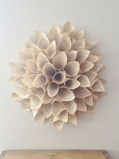 Paper Dahlia - Wall Hanging - 12 INCH - Paper Wreath - Vintage Paper Wall Decor - Shabby Chic