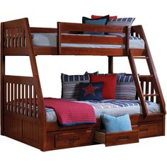 Cambridge Stanford Twin-over-full Bunk Bed With Twin Trundle (Dark Cherry), Red