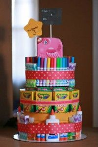 school supply cake - great for teacher appreciation day!