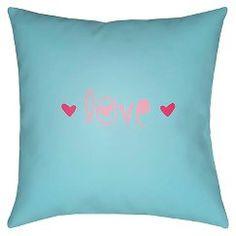 Surya Love Notes Pillow - Sky Blue