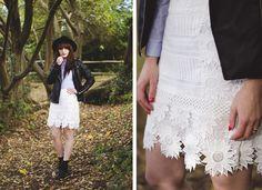Blue-shirt-white-laced-skirt / More on fashion-utopia.com