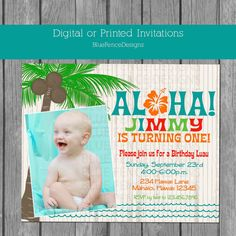 Pineapple Birthday Invitation Luau Invitation Hawaiian Birthday
