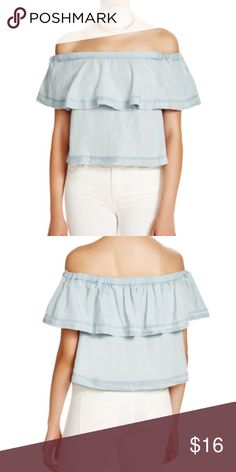 Free People Off the shoulder Chambray Crop top Really cute off the shoulder Chambray top with slight cropped fit. In excellent used condition like new but doesn't come with the detachable straps. Comfortable elasticized fit and pretty ruffle look. Free People Tops Crop Tops