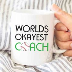 "Baseball coach gift, ""Worlds okayest coach"" mug, baseball coach gift ideas, baseball gifts, baseball coaches gift, baseball gift ideas MU217 by artRuss on Etsy"