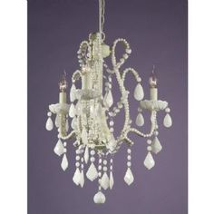 French Style Marie Therese Cream Cracked Milky Crystal 3 Arm Chandelier