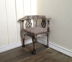 OOAK Shabby Chic Dollhouse Miniature Chair Cottage Furniture 1/12 1:12 One Inch Scale by SmallScaleLiving, $16.00