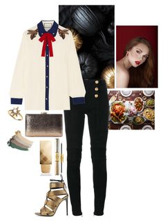 """""""Holiday Bows"""" by shamaamah on Polyvore featuring Balmain, Gucci, Tom Ford, Anzie, tarte and Burberry"""