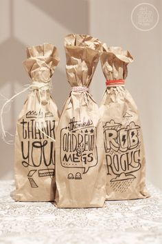 Easy Thank You Gift Bags for Wine/Cider using brown bags and Sharpies