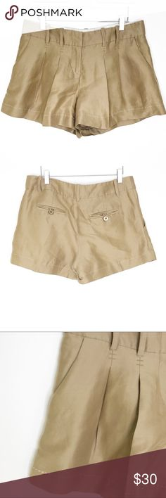 Cartonnier Beige Gray Striped Pleated Front Shorts Size 4 Shorts Clothing, Shoes & Accessories