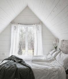 white, a-frame ceiling, headboard
