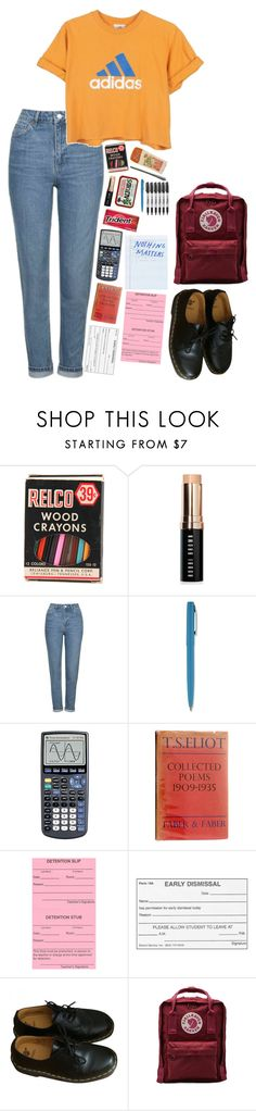 """School ties"" by laurennatasha3 ❤ liked on Polyvore featuring Bobbi Brown Cosmetics, Topshop, adidas, Fisher Space Pen, Sharpie, Dr. Martens and Fjällräven"