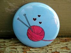 Pinback button badge - Knitting love - UNPACKAGED. $2.00, via Etsy.