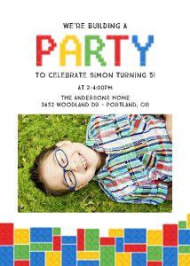 Lego Bricks Birthday party invitation