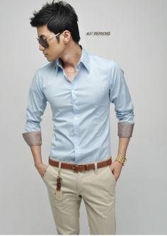 Camisa For Men Shirt Blouse White Black Men Slim Fit Silk Stylish Shirts South Korea Long Sleeve Shirts For Man Dress Shirts-in Dress Shirts...