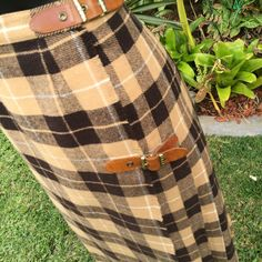 Vintage Italian Camel and Brown Check Kilt with leather buckle's Size 8-10 FREE FREIGHT WORLDWIDE by PippiLime on Etsy
