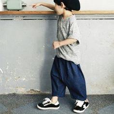 ワイド9分デニムバギーパンツ韓国子供服ポケット無しウエストゴム男の子女の子90cm100cm110cm120cm130cm140cm