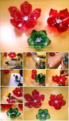 Here's the link to the tutorial >> How to Make Flowers from Plastic Bottles << by Artesanato Viviane Magalhães Plastic Jugs, Reuse Plastic Bottles, Plastic Bottle Crafts, Plastic Spoons, Recycled Bottles, Flower Crafts, Diy Flowers, Paper Flowers, Pop Can Crafts