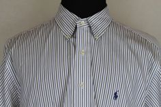 RALPH LAUREN Classic Fit Men White Stripe Long Sleeve Button Front Shirt sz 17.5 #RalphLauren