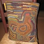 Large Hooked Rooster Pillow.  We offer a great selection of Country Primitive Hooked Rugs & Pillows on our website www.theredbrickcottage.com .