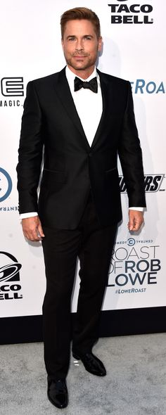 Arriving at his Comedy Central Roast in Los Angeles, Rob Lowe wearing Burberry…