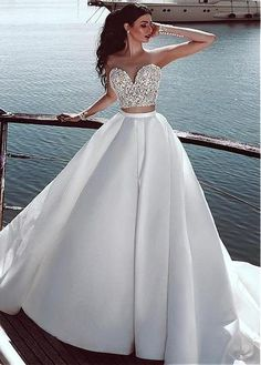 Wedding Dress Simple, Alluring Tulle & Satin Sheer Jewel Neckline Two-piece A-line Wedding Dress With Beaded Lace Appliques Lauren Bridal - dresses - Wedding Dresses For Sale, Cheap Wedding Dress, Bridal Dresses, 2 Piece Wedding Dress, Wedding Veil, Free Wedding, Ball Dresses, Ball Gowns, Prom Dresses