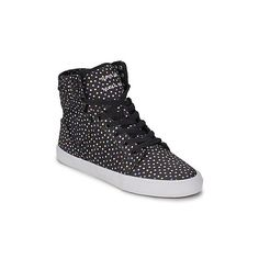 Supra SKYTOP Shoes (High-top Trainers) (£66) ❤ liked on Polyvore featuring shoes, sneakers, high top trainers, women, black leather shoes, white leather sneakers, black hi top sneakers, black high tops and high top sneakers