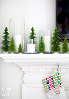 Ideas-for-Christmas-Mantel-Decorating Sweet little trees. I love Diane's stuff at In Home Style
