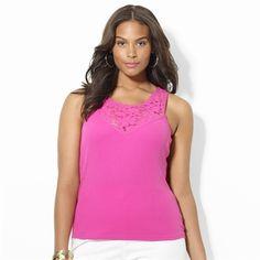 Lauren Ralph Lauren Plus Size Lace Cotton Tank #VonMaur #LaurenRalphLauren #FullFigured #Pink #Lace #Neckline