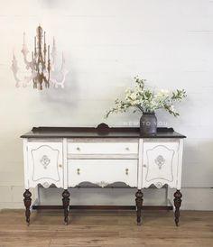 Two toned buffet. Painted in Rustoleum Chalk Paint in Linen. Stain is dark walnut by minwax.