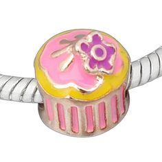Rose Gold Tone Enamel Heart Cupcake Birthday Bead Charm Spacer Bead Fits European Pandora Troll Other Type Bracelet ChiChi Beads,