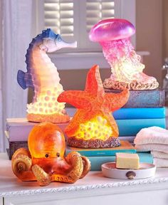 Nautical Seahorse Shaped Table Lamp Sealife Coastal Starfish Octopus Table Lamps | eBay