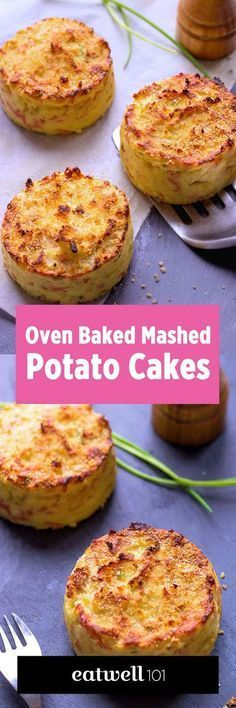 Oven Baked Mashed Potato Cakes Healthier than pan fried potato patties, these baked mashed potato cakes are cooked in oven for a result that is crisp in the outside and melting in the inside. This easy side dish is ideal to acco… Pan Fried Potatoes, Baked Mashed Potatoes, Mashed Potato Cakes, Potatoe Cakes Recipe, Potato Pancakes, Mashed Potato Patties, Baked Potato Oven, Leftover Mashed Potatoes, Mashed Potato Recipes