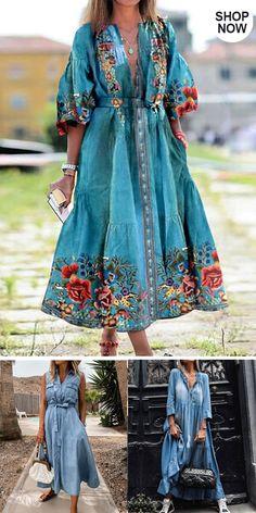 Fast Fashion, Boho Fashion, Fashion Dresses, Womens Fashion, Comfy Dresses, Casual Dresses, Estilo Country, Country Dresses, Embroidery Fashion