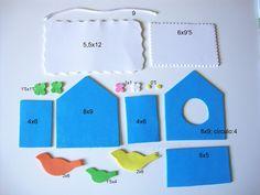 estas son las piezas y las medidas para la casita nido de pajaros